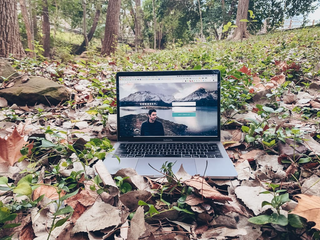 work wherever whenever freedom flexible jobs laptop woods forest